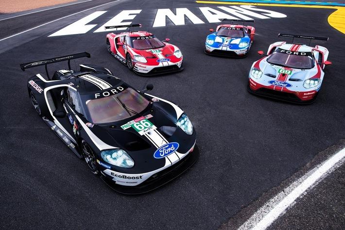 Ford würdigt die 24 Stunden von Le Mans mit Rennwagen in historischen Farben
