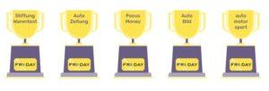5x ausgezeichnet: FRIDAY Autoversicherung überzeugt Tester von AUTO BILD, Auto Zeitung, auto motor und sport, Focus Money und Stiftung Warentest