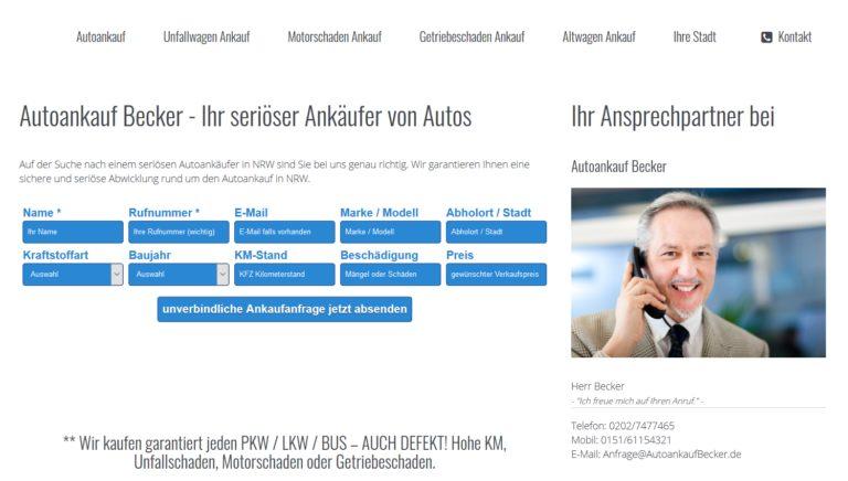 Autoankauf Becker – Ihr seriöser Ankäufer von Autos in Detmold