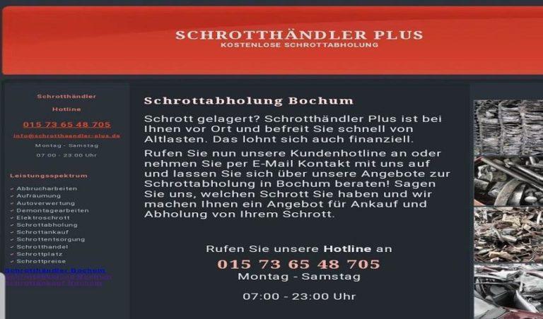 Wir holen Ihren Schrott kostenlos ab in Bochum Für private Haushalte/ Gewerbe