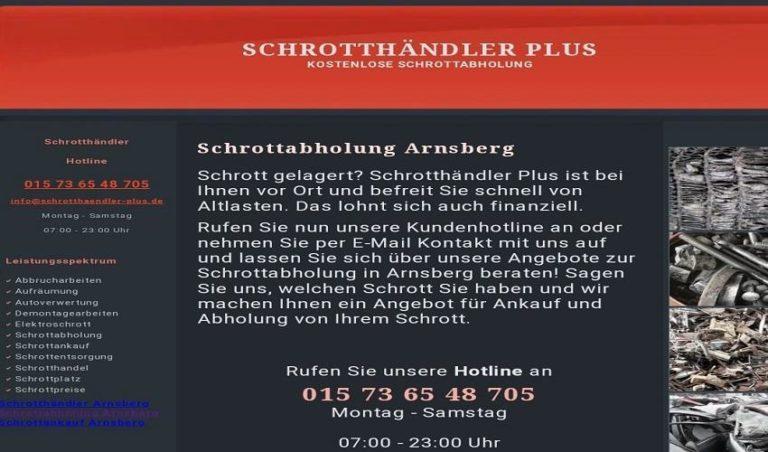 Schrottabholung in Arnsberg für Privat- und Gewerbekunden – kostenfrei und unkompliziert