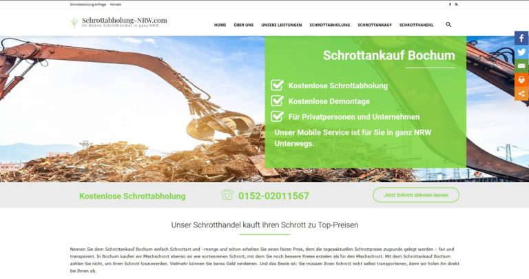 Schrottabholung Bochum : Dabei kann es so einfach sein, den Altmetallschrott loszuwerden