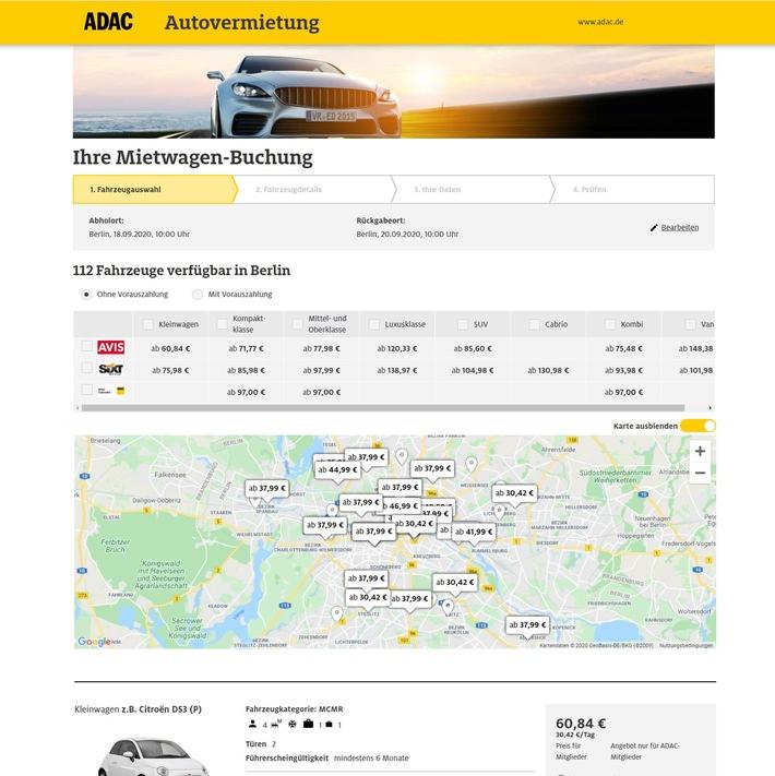 ADAC Autovermietung bietet eine virtuelle Umgebungssuche an/ 8.000 Mietstationen aller Partner weltweit angeschlossen