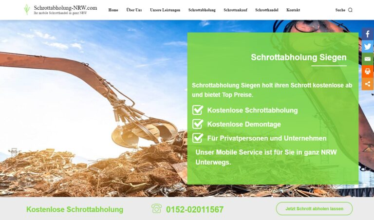Kostenfreien Abholens von Schrott und Metall in Siegen