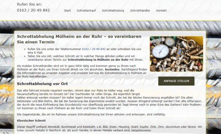 Schrottabholung Mülheim an der Ruhr : Wir kümmern uns um Ihre Schrott & Metalle
