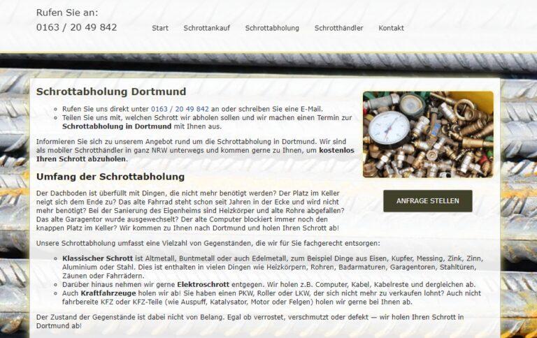 Schrottabholung Dortmund holt Ihren Schrott, uuverlässig, schnell, unkompliziert ab