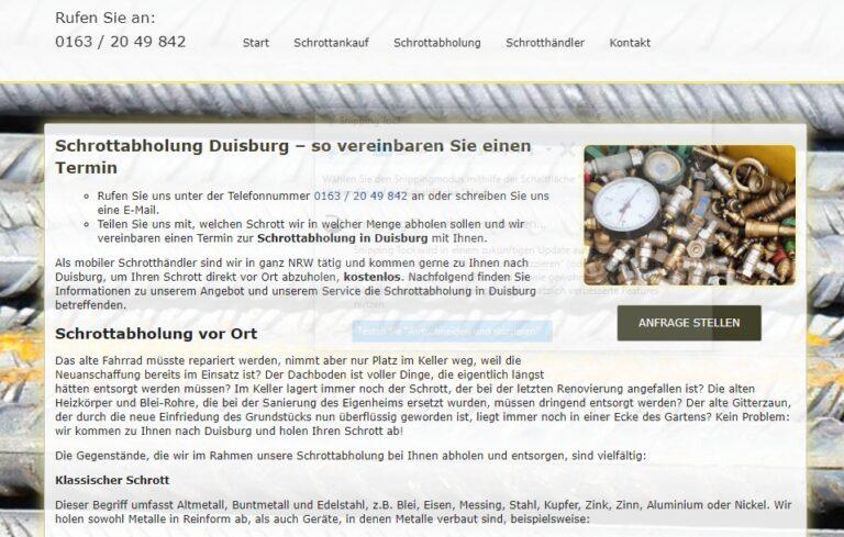 Kostenlose Schrottabholung in Duisburg zum Wunschtermin