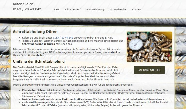 Schrottabholung in Düren und NRW