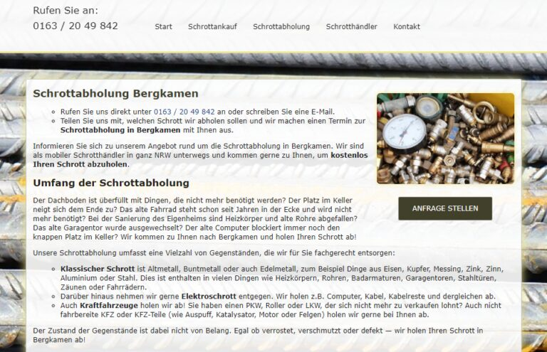Schnell & unkompliziert Schrottabholung in Bergkamen