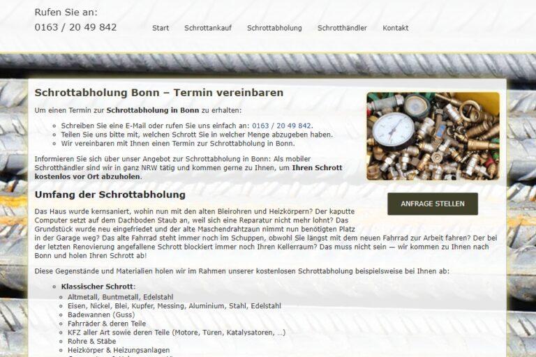 Das macht ein Recycling unverzichtbar, und somit auch die Abholung, den Ankauf und das Entsorgen von Schrott in Bonn