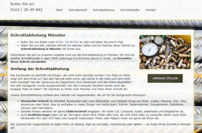 Unser Team aus mobilen Schrotthändlern holt Ihren Schrott in Münster kostenlos
