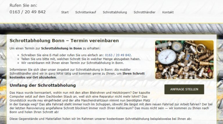 Schrottabholung Bonn : Komplizierte Schrottdemontagen führen Schrotthändler aus Bonn