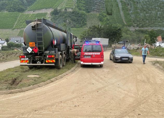 Logistikkommando der Bundeswehr unterstützt bei der Hochwasserkatastrophe in Deutschland