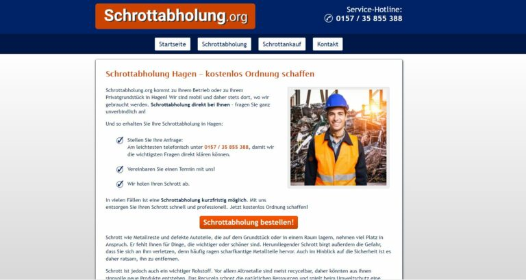 Kostenlose Schrottabholung in Hagen: Altmetalle, Buntmetalle und Mischschrott